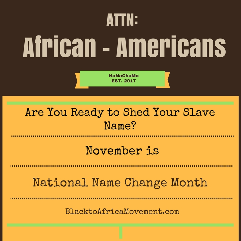 Back to Africa - National Name Change Month